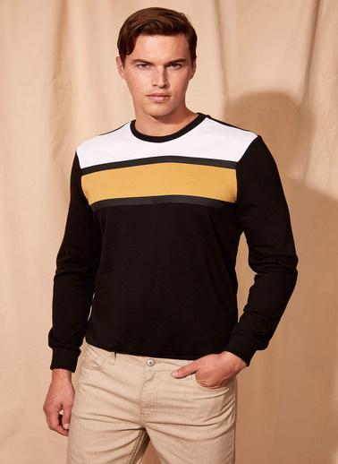 DeFacto Renk Bloklu Sweatshirt Siyah